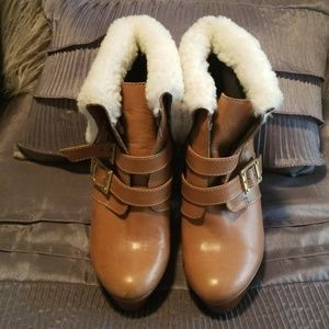 Rachel Zoe Tan Leather and Shearling Booties